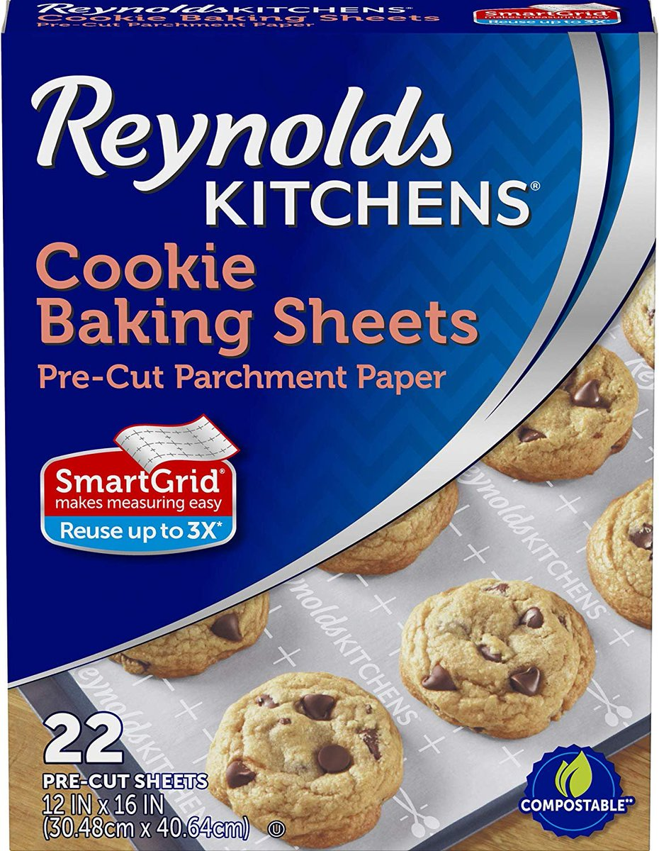 Reynolds Kitchens Non-Stick Baking Parchment Paper Sheets - 12x16 Inch, 22 Count https://amzn.to/2wP50Sj pic.twitter.com/9504JEG7aM