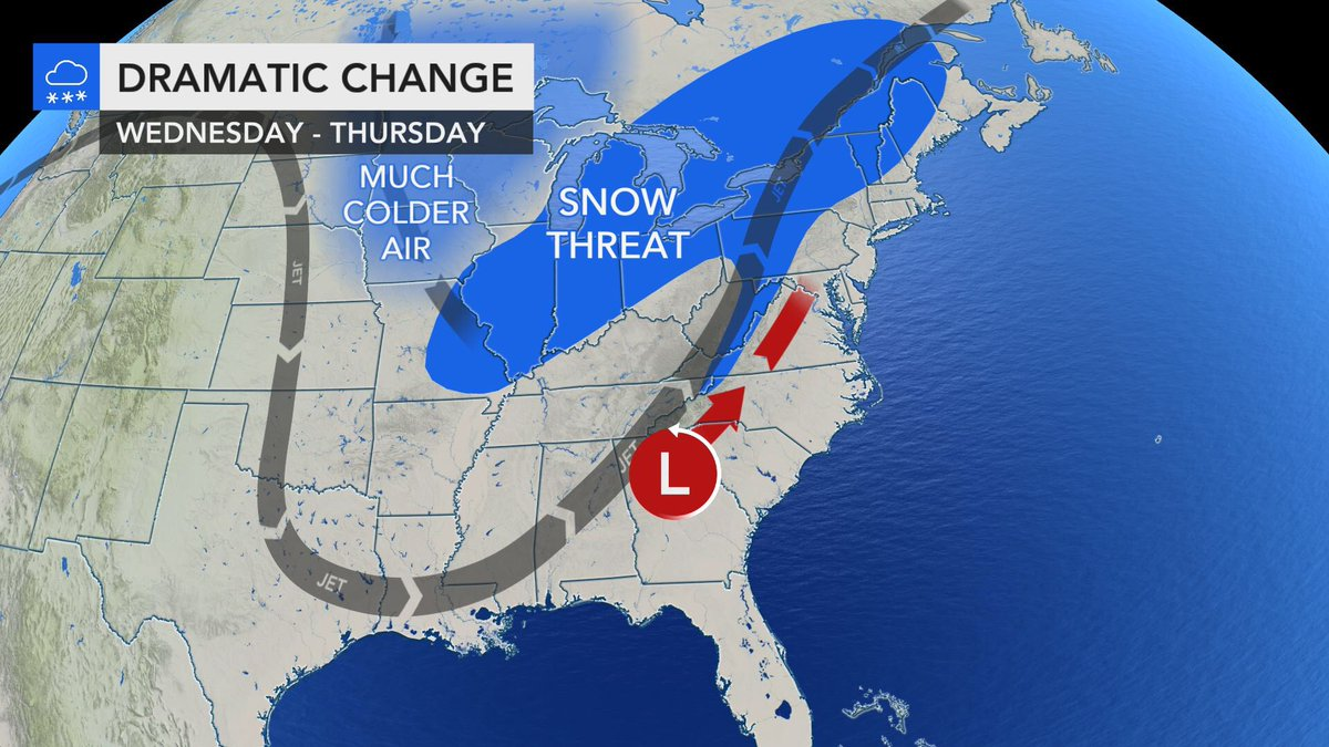 Big changes ahead for the East... snow chances ramp up Wednesday and a biting cold wind follows... #CanadianCold #Winter #AccuWeather