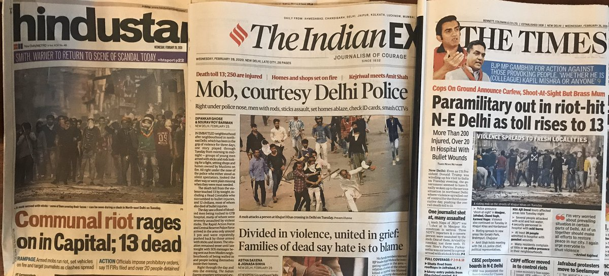 Deeply disturbing headlines that scream the truth about what happened yesterday.  And utter silence from the PM and the entire Cabinet Committee on Security- not even so much as a tweet requesting for peace and calm by PM, HM, RM, FM & EAM