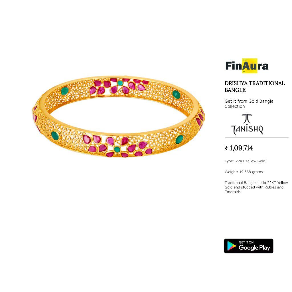 May this bangles brings you happiness, lots of love and care in this season. Get this amazing collection from Tanishq. Set in 22 Kt Gold (19.658 grams). For more details, please checkout our app http://tiny.cc/f_gdp  #goldjewellery #indianjewellery #tanishq #goldbangles #bridepic.twitter.com/R5blWgJNRJ