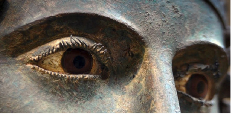 The eyes of the bronze statue of Heniokhos (Charioteer) at Delphi,478 BC.Delphi Museum,Greece. <br>http://pic.twitter.com/BBZFZ5iuDU