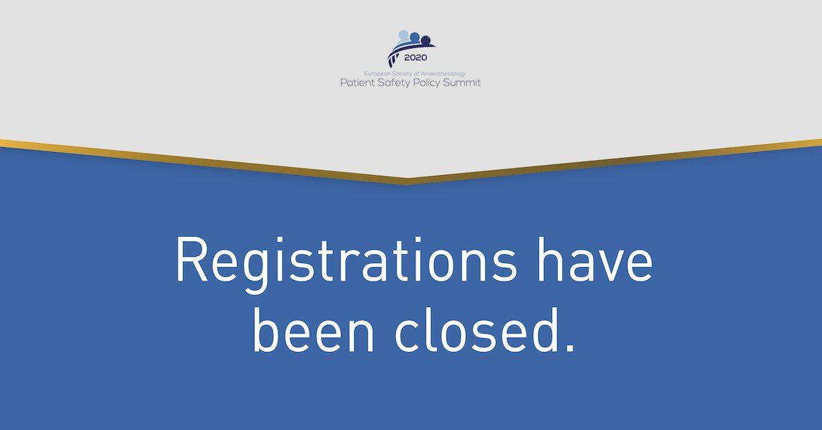 We are proud to announce that we have reached maximum capacity for the #ESASummit2020 and will close registrations. Great to see all the interest in #PatientSafety - we look forward to seeing you in #Brussels.pic.twitter.com/cRDHDRAogU