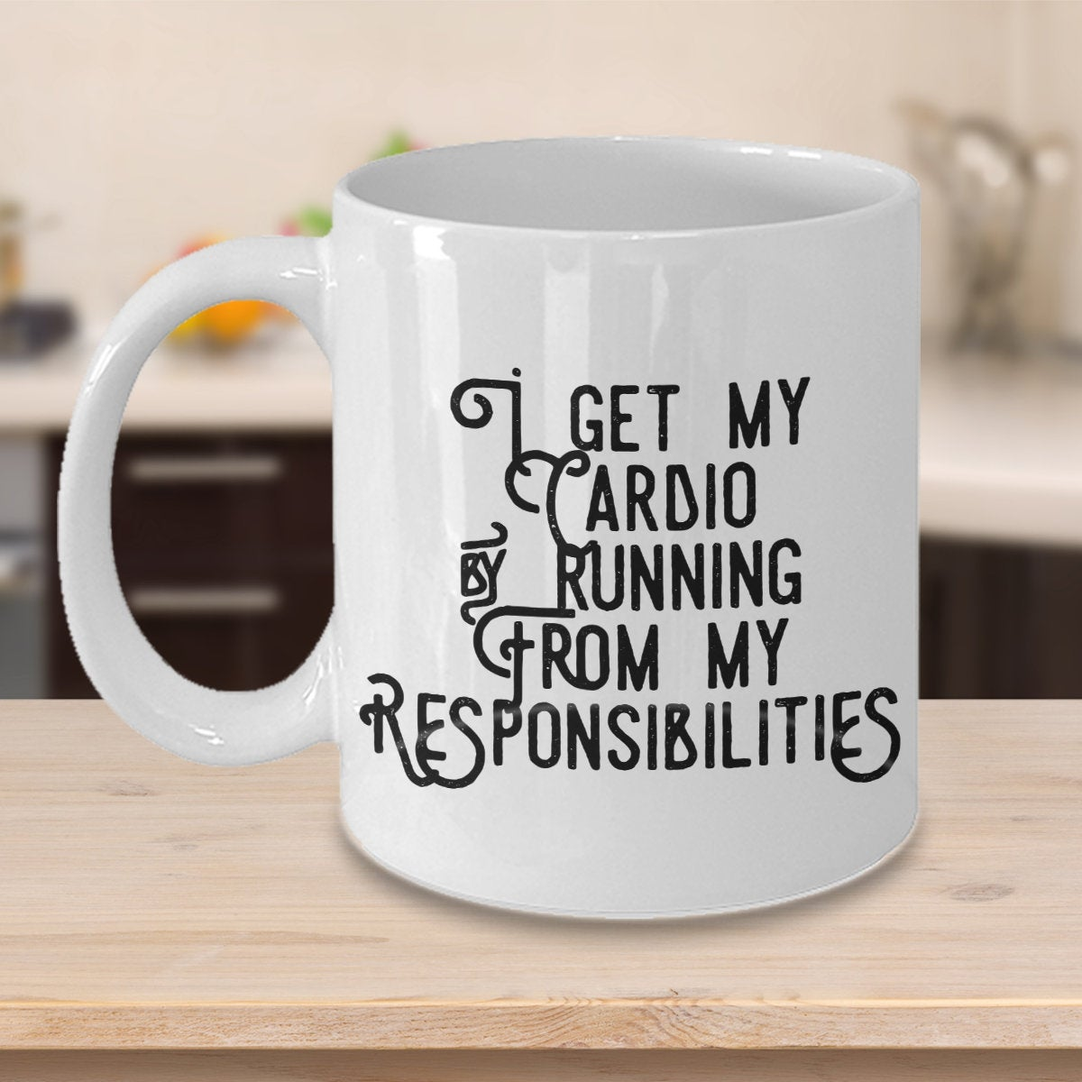Excited to share the latest addition to my #etsy shop: I get my cardio by running from my responsibilities funny mug  #housewares #cardio #workout #funny #morningjog #inthemorning #morningrun #workingout #dreadmill