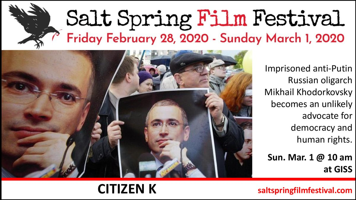 The Salt Spring Film Festival is screening at least 10 films on politics or socio-political issues, including CITIZEN K, directed by Oscar-winner Alex Gibney (@alexgibneyfilm).  Join us this weekend at Gulf Islands Secondary School!pic.twitter.com/C5DPhTEYsD