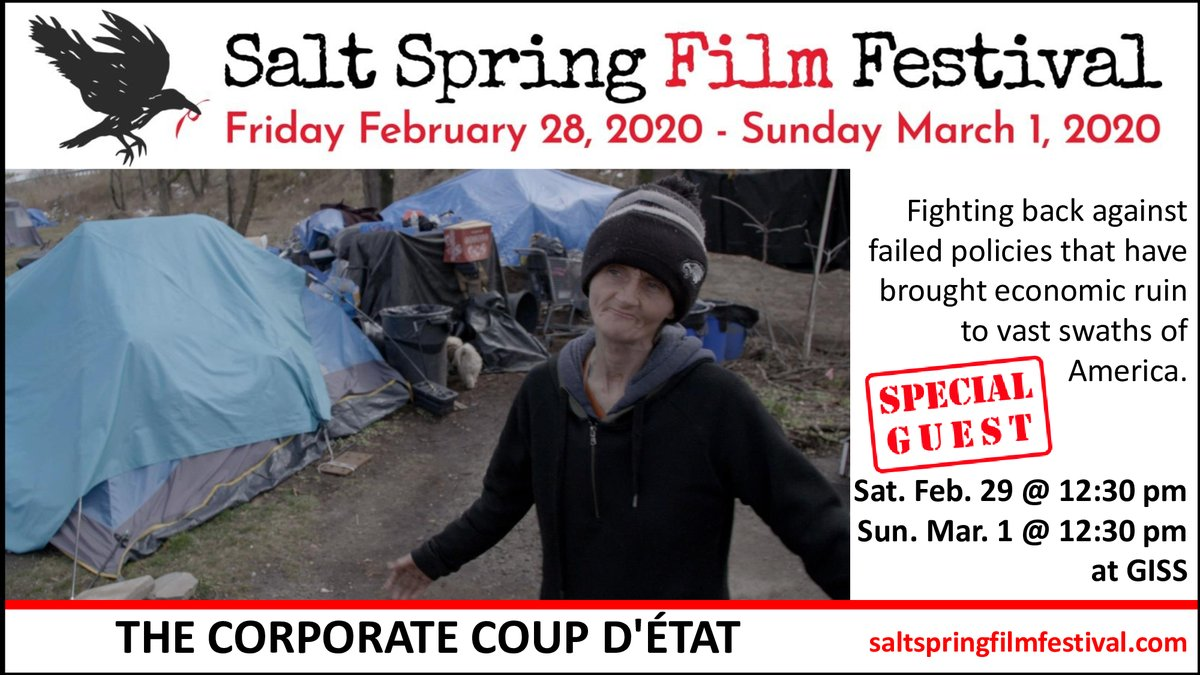 The Salt Spring Film Festival is screening at least 10 films on politics or socio-political issues, including THE CORPORATE COUP D'ÉTAT, with Emmy Award-winning director Fred Peabody (@fredpeabody2) in attendance.  Join us this weekend at Gulf Islands Secondary School!pic.twitter.com/kIHYHz64S8