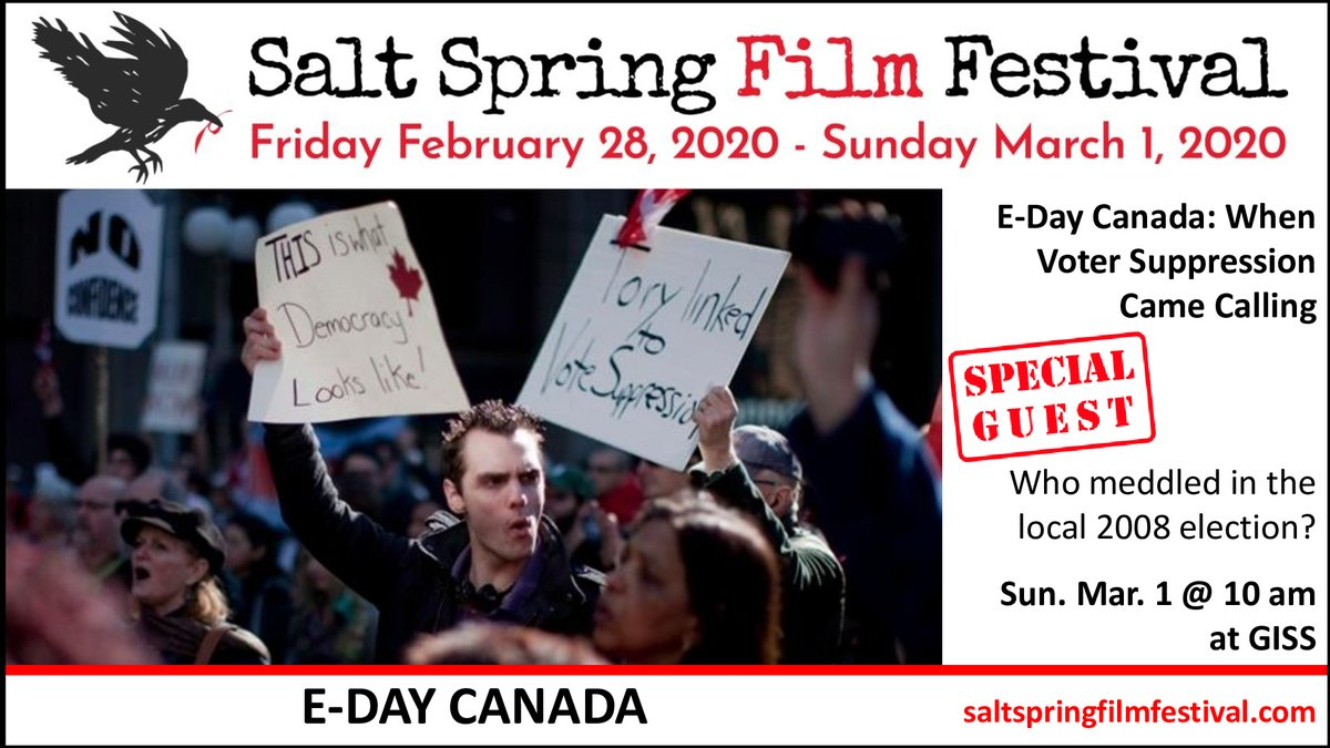 The Salt Spring Film Festival is screening at least 10 films on politics or socio-political issues, including E-DAY CANADA: WHEN VOTER SUPPRESSION CAME CALLING, directed by Peter Smoczynski.  Join us this weekend at Gulf Islands Secondary School!pic.twitter.com/eO1QcnjHHF
