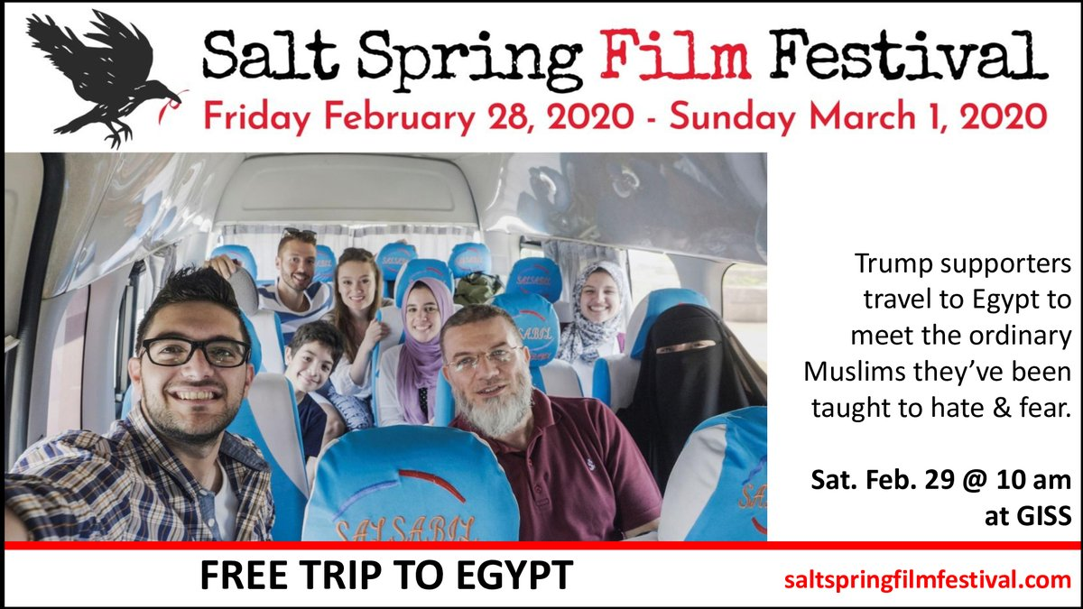The Salt Spring Film Festival is screening at least 10 films on politics or socio-political issues, including FREE TRIP TO EGYPT (@freetriptoegypt), directed by Ingrid Serban (@ingridserban).  Join us this weekend at Gulf Islands Secondary School!pic.twitter.com/qX0AjRqhxf