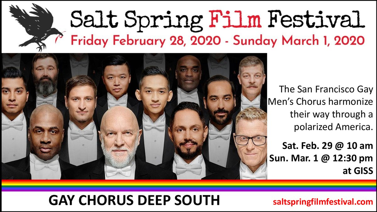 The Salt Spring Film Festival is screening at least 10 films on politics or socio-political issues, including GAY CHORUS DEEP SOUTH (@gcds_film), directed by David Charles Rodrigues.  Join us this weekend at Gulf Islands Secondary School!pic.twitter.com/qBhWOyJIor