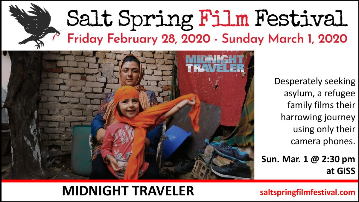 The Salt Spring Film Festival is screening at least 10 films on politics or socio-political issues, including MIDNIGHT TRAVELER, directed by Hassan Fazili & Emelie Mahdavian.  Join us this weekend at Gulf Islands Secondary School!pic.twitter.com/pHvCY8w6YQ