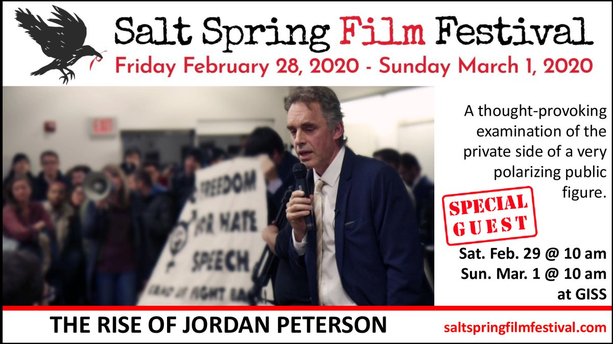 The Salt Spring Film Festival is screening at least 10 films on politics or socio-political issues, including THE RISE OF JORDAN PETERSON (#RJPFilm on @jordanbpeterson), directed by Patricia Marcoccia (@pmarcoccia).  Join us this weekend at Gulf Islands Secondary School!pic.twitter.com/O2r7drG7kq