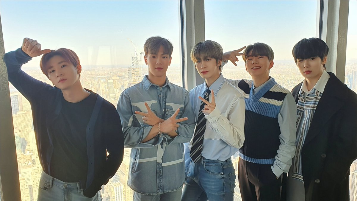 "From LA to NY, @OfficialMonstaX has finished two weeks of busy promos for ""All About Luv"" in the US and Kihyun says it's been fulfilling to see all the great support from Monbebes & praise from people in the industry."
