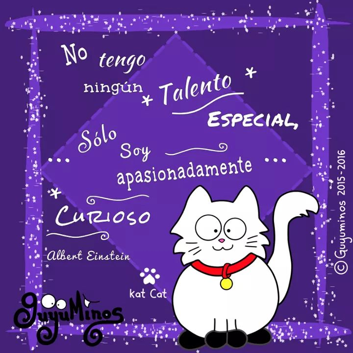 Se curios@ =^..^= I have no special talent. I am only passionately curious.    #curiosidad #talento #especial #guyuminos #cute #gato #ilustracion #kawaii #tarjetas #gift #catlovers  #stuffedanimal #cat #peluches #regalosoriginales