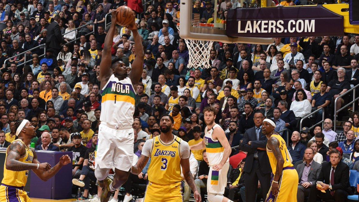 ⚡️ ZION!  29 PTS (6 REB & 3 AST) e nona partita consecutiva da 20+ PTS segnati per @Zionwilliamson nella sfida tra @PelicansNBA e Los Angeles Lakers!  #NBA | #WontBowDown
