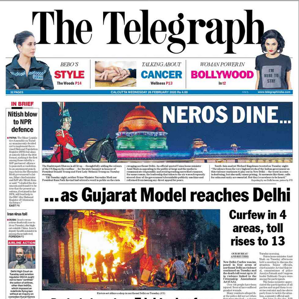 As Delhi burns, President Kovind and PM Modi dine with their American guest. Gujarat 2002 comes alive on the streets of Delhi in 2020.  READ: https://www.telegraphindia.com/india/neros-dine-as-gujarat-model-reaches-delhi/cid/1748694…