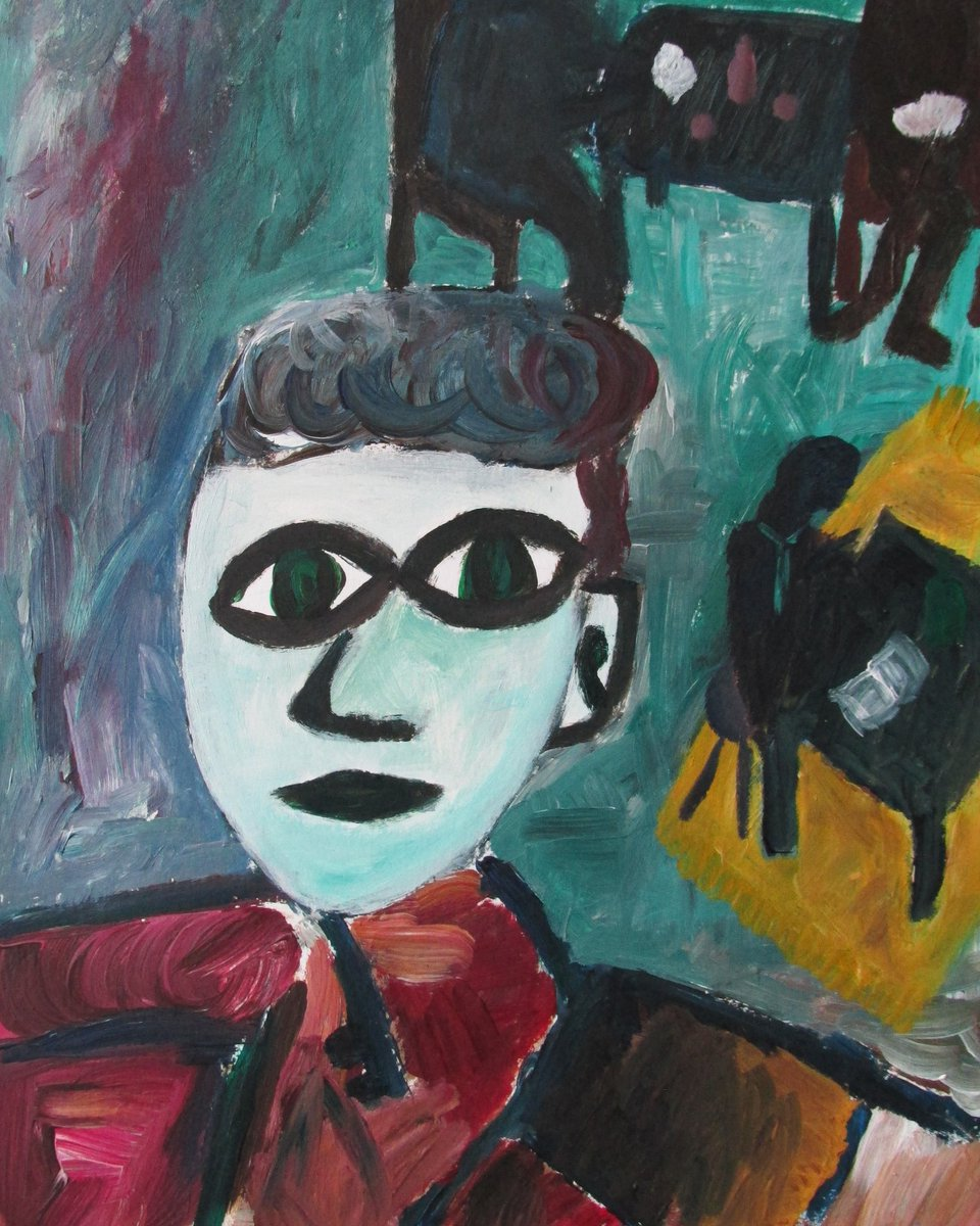Boy in a cafe (2019) 30x40cm Acrylics on paper #contemporaryartist #contemporaryart #acrylic #acrylicart #acrylicpainting #boy #bigeyes #cafe #expressionism #expressive #tension #whiteface #green #uneasy #newart #newartist #painting #newpainting pic.twitter.com/kkCr15zjrE