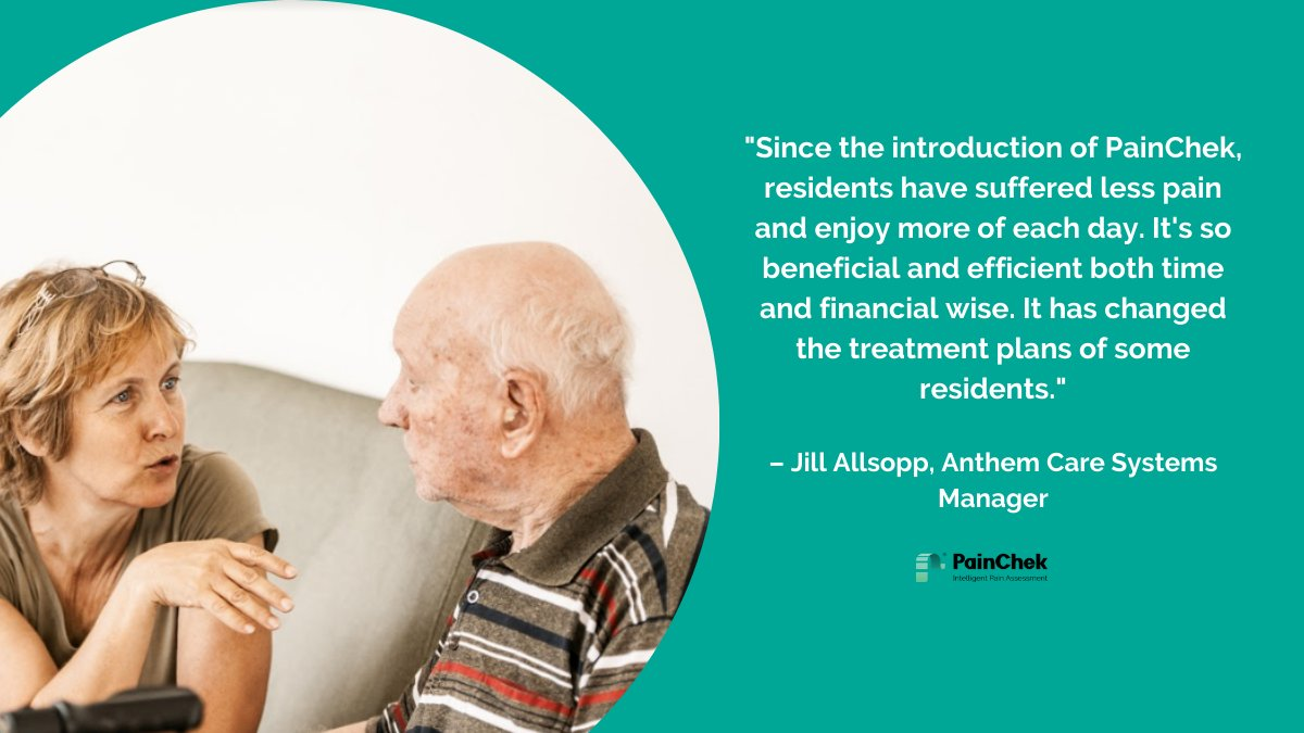 Since 2018, we have worked with Anthem Care in Bowral to help improve pain assessment and quality of life for its residents. Systems Manager Jill Allsopp shares how PainChek has transformed pain assessment in their nursing home.  Read more here: https://painchek.com/testimonials/ pic.twitter.com/nvUAlu80tv
