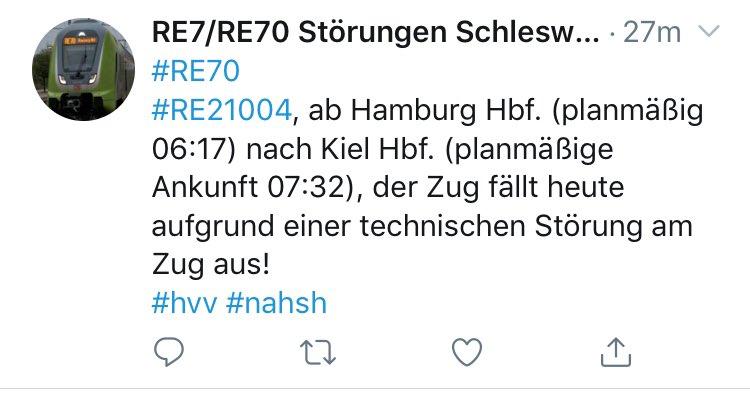 Pünktlichkeit alleine reicht nicht, die Züge und die Infrastruktur müssen störungsfrei laufen. Und die Kapazitäten im Berufsverkehr sind jetzt schon größtenteils überschritten! Störung, Störung, Störung @Der_KaiErik @shz_de @DBRegio_SH @Schienenallianz @PRO_BAHN @ndrpic.twitter.com/3O3oQzzGDK