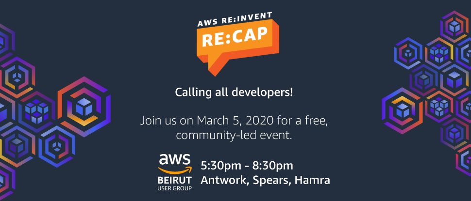 This year the popular tradition of @AWSBeirut of re:Invent reCap is featuring a presentation from top cloud experts covering all the main announcements and insights made at last year re:Invent conference in Las Vegas.  Learn more and book your FREE spot: https://t.co/Mm2cjAjV1K https://t.co/gANUCaAj19