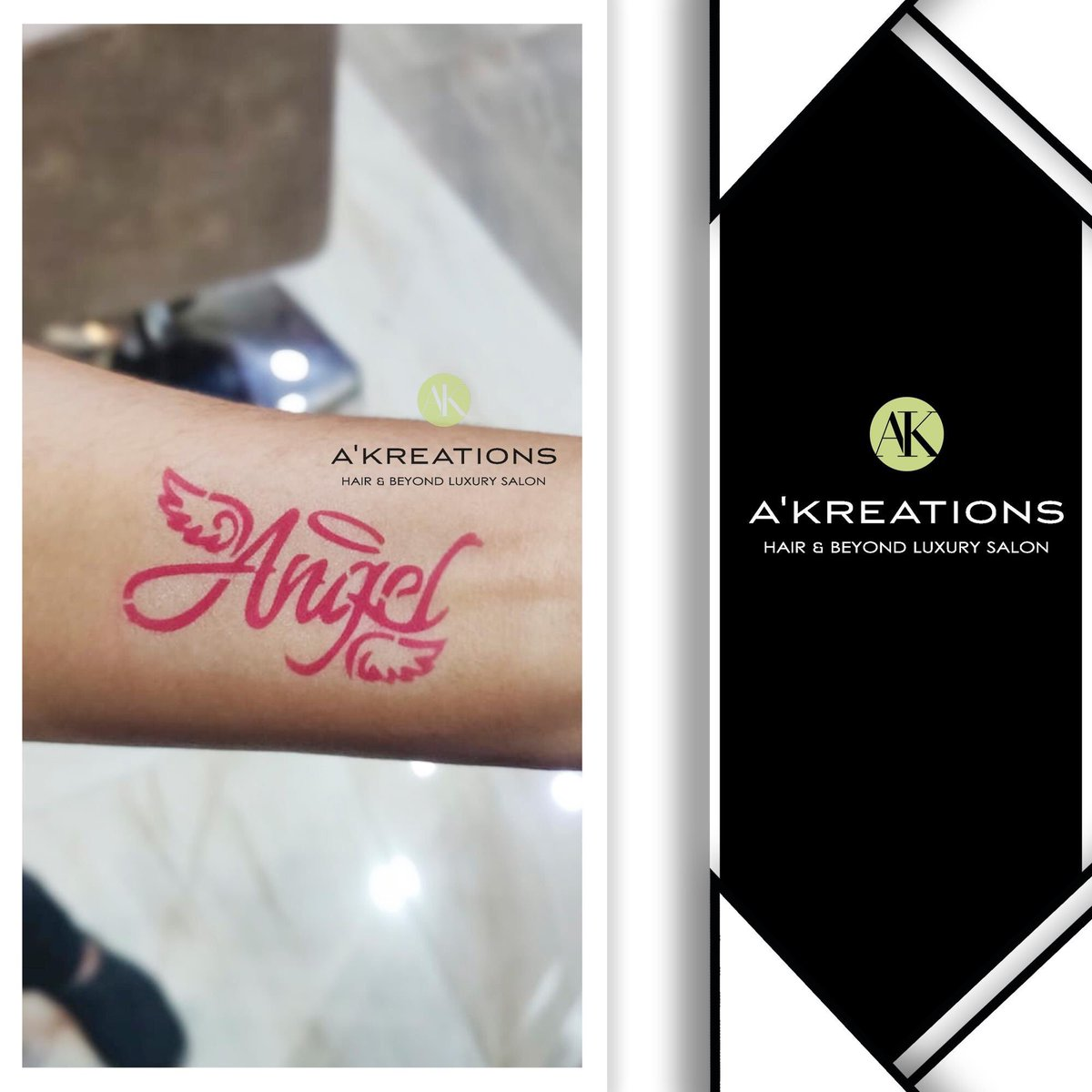 A Kreations On Twitter Temporary Body Art Angel Airbrushed On To Our Client S Wrist By Our Style Director Yogesh Nikam At Akreationsindia Https T Co 3xl8faca16 Akreationsindia Hairexperts Haircut Bodyart Angelbodyart