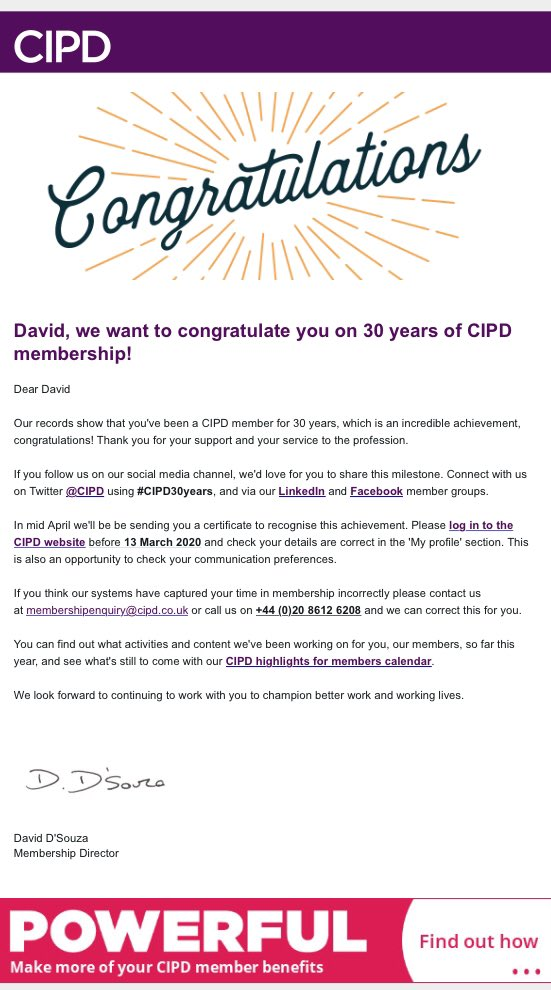 @CIPD just received a nice email with this messsge. Really chuffed & thanks to some fabulous mentors @RoyalMail I was able to achieve a huge amount. A couple of career moves later I am loving life @CharacterWorld_ #CIPD30years #lifelonglearning #havefun #enjoywhatyoudopic.twitter.com/KtFC5OZlcw
