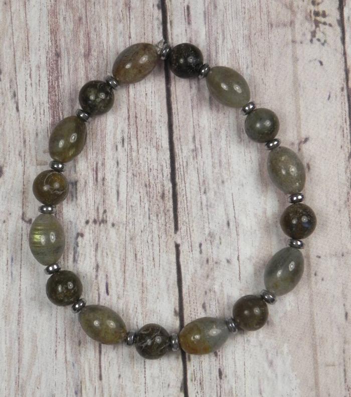 "Labradorite Silver Hematite Disk Spacer Stretch Bracelet Handmade 7.5"" http://ebay.to/2N7bEbY @eBay #gifts #shopsmall #buyhandmade"