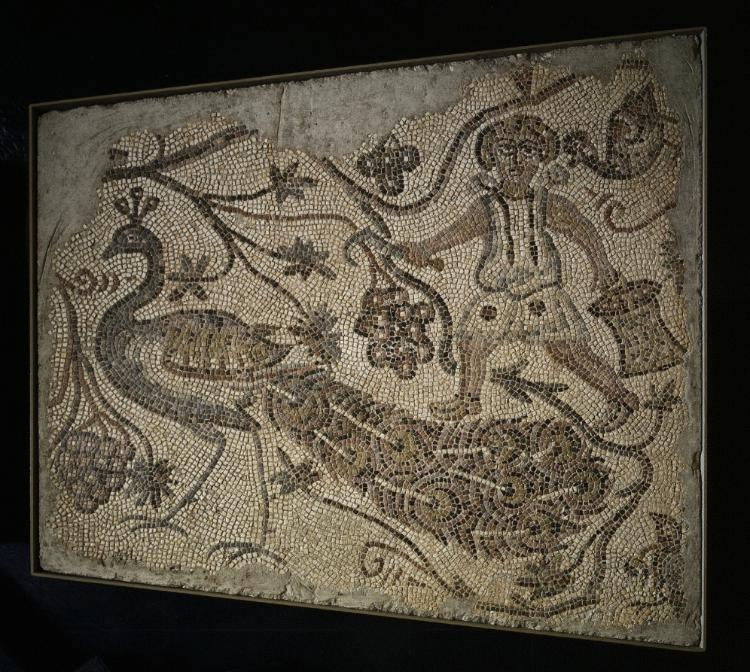 Floor Mosaic Panel: Grape Harvester with Peacock, 400  #MedievalArt #cmaopenaccess
