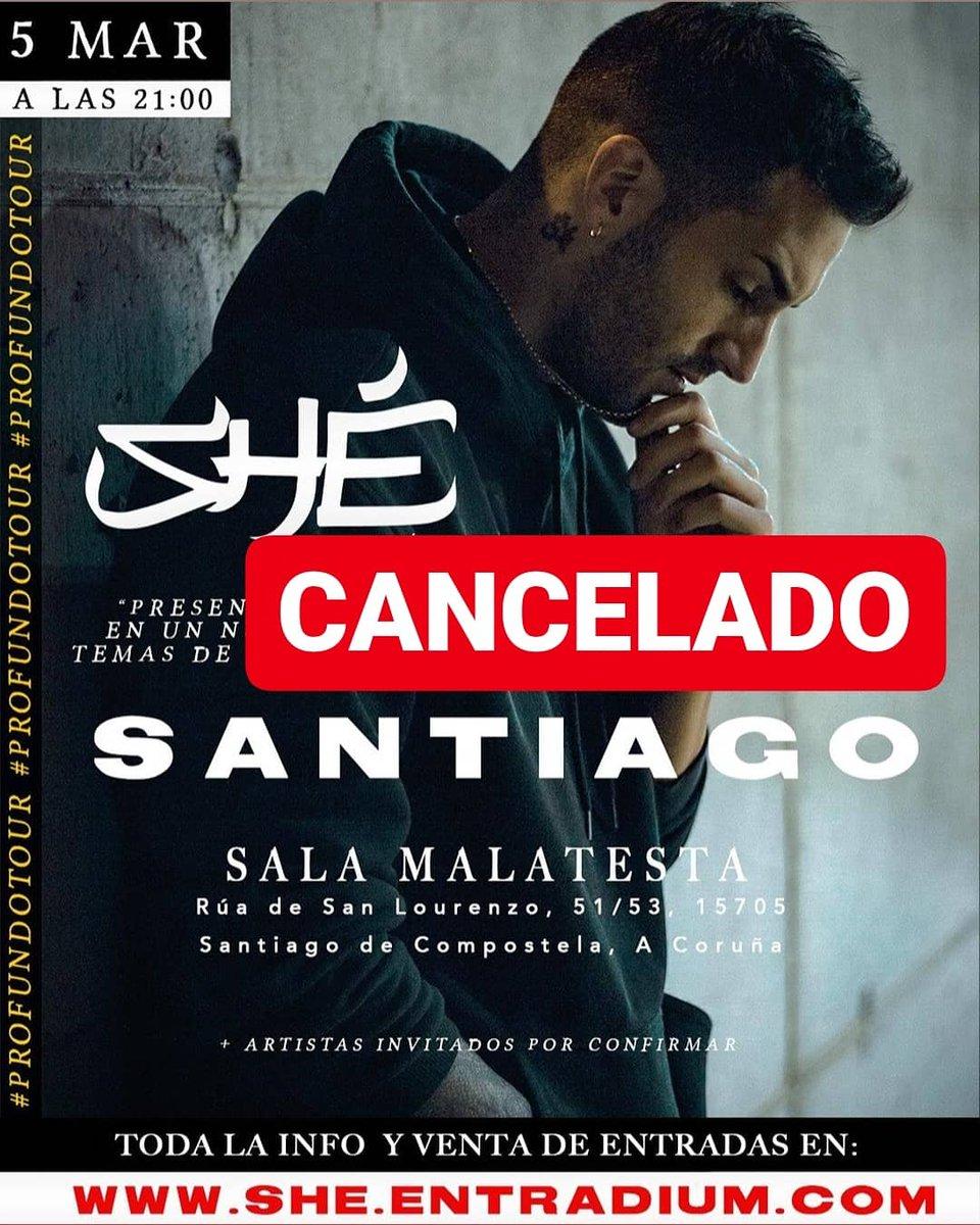 Cancelados los conciertos de @she_oficial en #galicia. / / @LaFabricaVigo @SalaMalatesta #vigo #pontevedra #santiagodecompostela #compostela #gz #galiza #riasbaixas @esmerarte