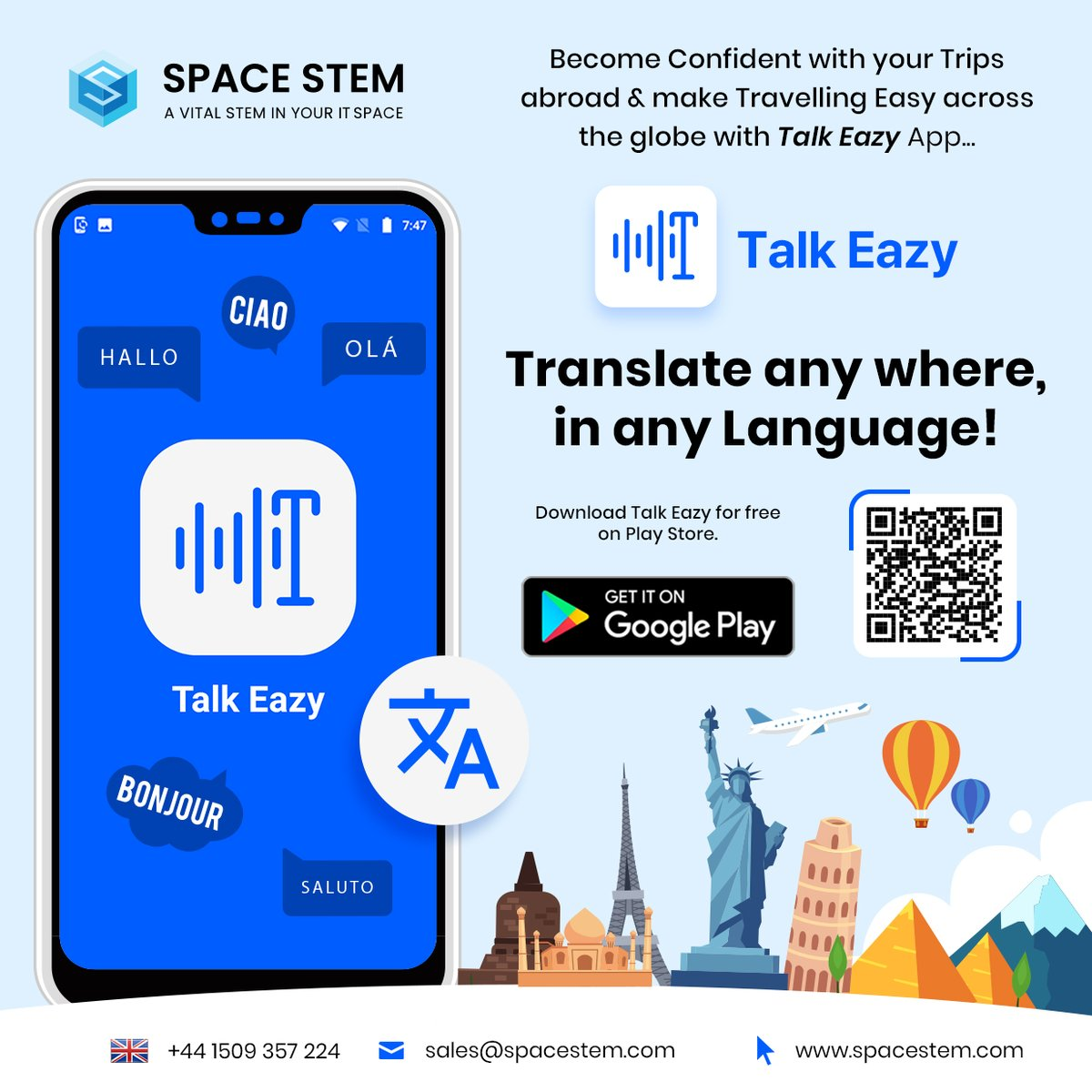 It's so easy with Talk Eazy...  Install the Talk Eazy App (Ad-free) by scanning the QR code and help yourself to translate your language into any foreign language.  Download Talk Eazy for free on Play Store: https://lnkd.in/fMBgSXY  #englishlearning #languagetranslation #travelpic.twitter.com/m8zzMBsYMj