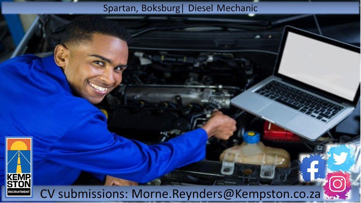 Spartan, Boksburg | Diesel Mechanic  CV submissions: Morne.Reynders@Kempston.co.za  #Kempston #Recruitment #Diesel #Mechanic #Boksburg