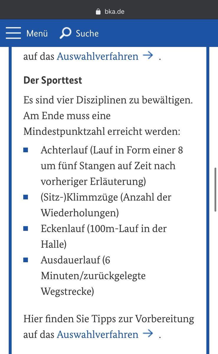 Sporttest bka Einstellungstest Bundeskriminalamt