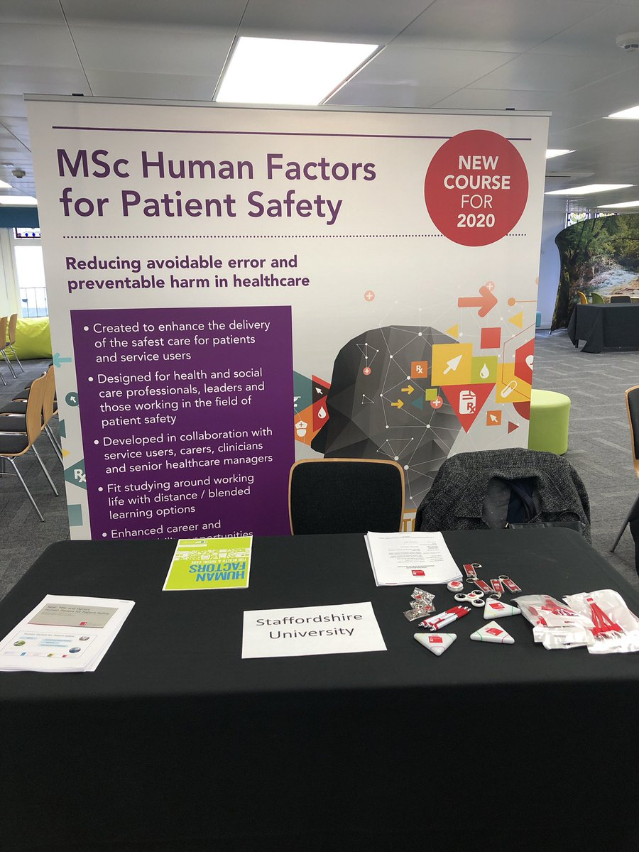 Our banner is in place, the sun has been shining and we are looking forward to introducing Staffordshire School of Health and Social Care  new PGCert and MSc 'Human Factors for Patient Safety' at CIEHF career event. #staffsuni #humanfactors #patientsafety pic.twitter.com/mLwQdwIJ8L