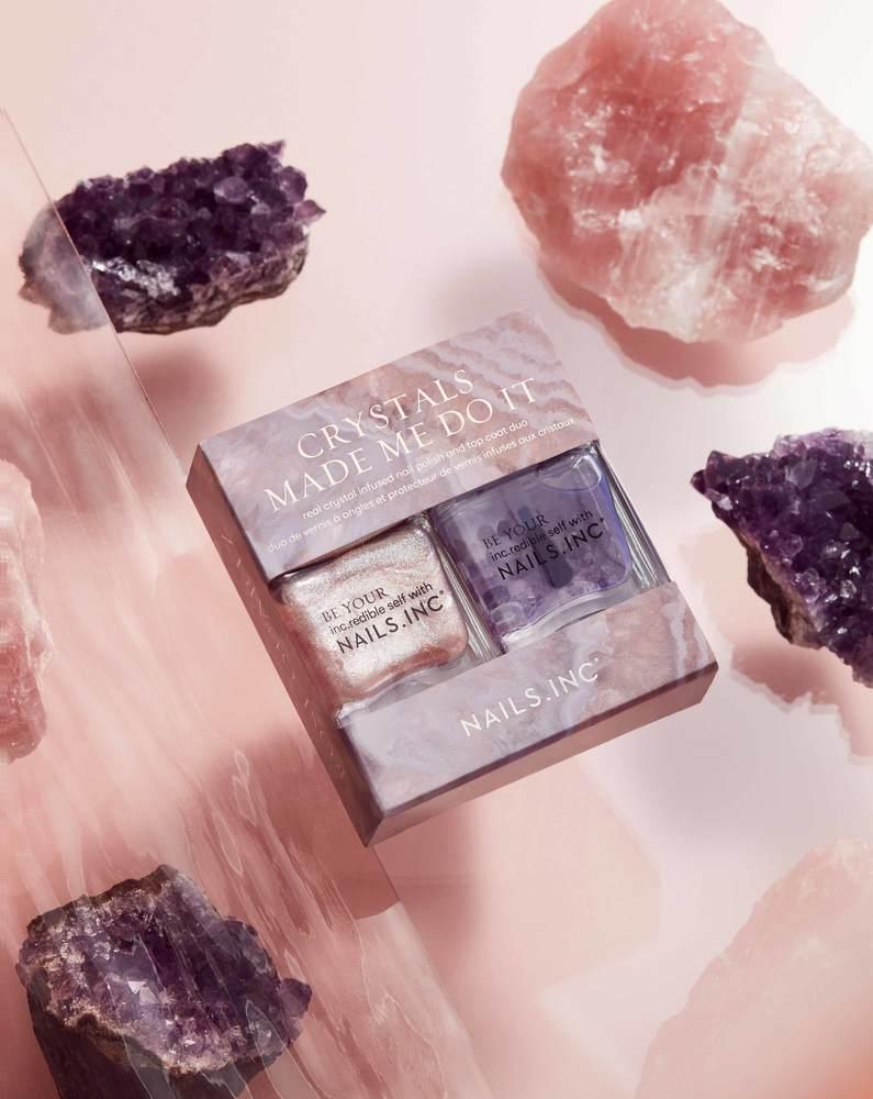 """ネイルズ インク""""天然石""""配合ネイルキット、ローズクウォーツの桜色ピンク&アメジストのトップコート -"""