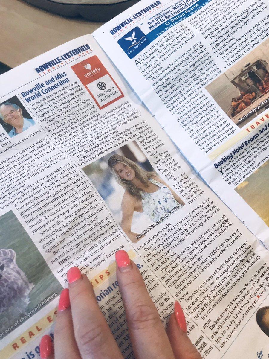 Rowville Lysterfield Newspaper #cassforkids #cassievanzeyl #beautywithapurpose #missworldpic.twitter.com/JLbdQeDaaO