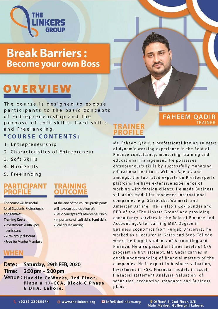It's time to start utilizing your skills and become your own boss.  Please register by clicking the ticket link below: https://t.co/L8QGyvy4rk  #training #thelinkersgroup #BreakBarriers #workshop #learning #famers #mentorclub #huddlecowork #faheemqadir #lahore https://t.co/qNIVwESqgV