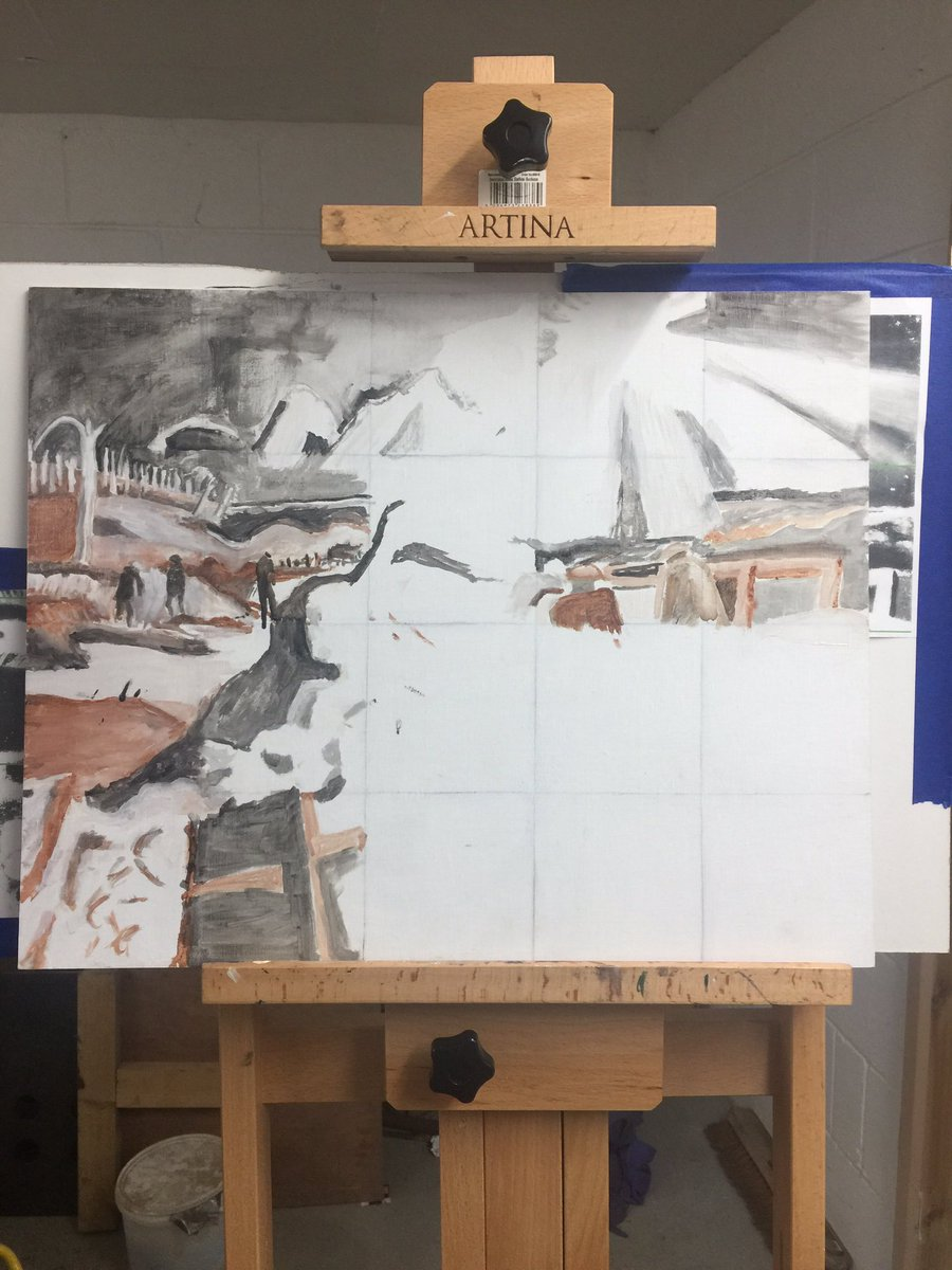 A bit more progress on my #paulnash copy . I think it's on the #iwm site but there are some picture out there comparing his sketches to his paintings . Very interesting #ampainting #wipart #paintinginprogress pic.twitter.com/1nXrSSBr0e
