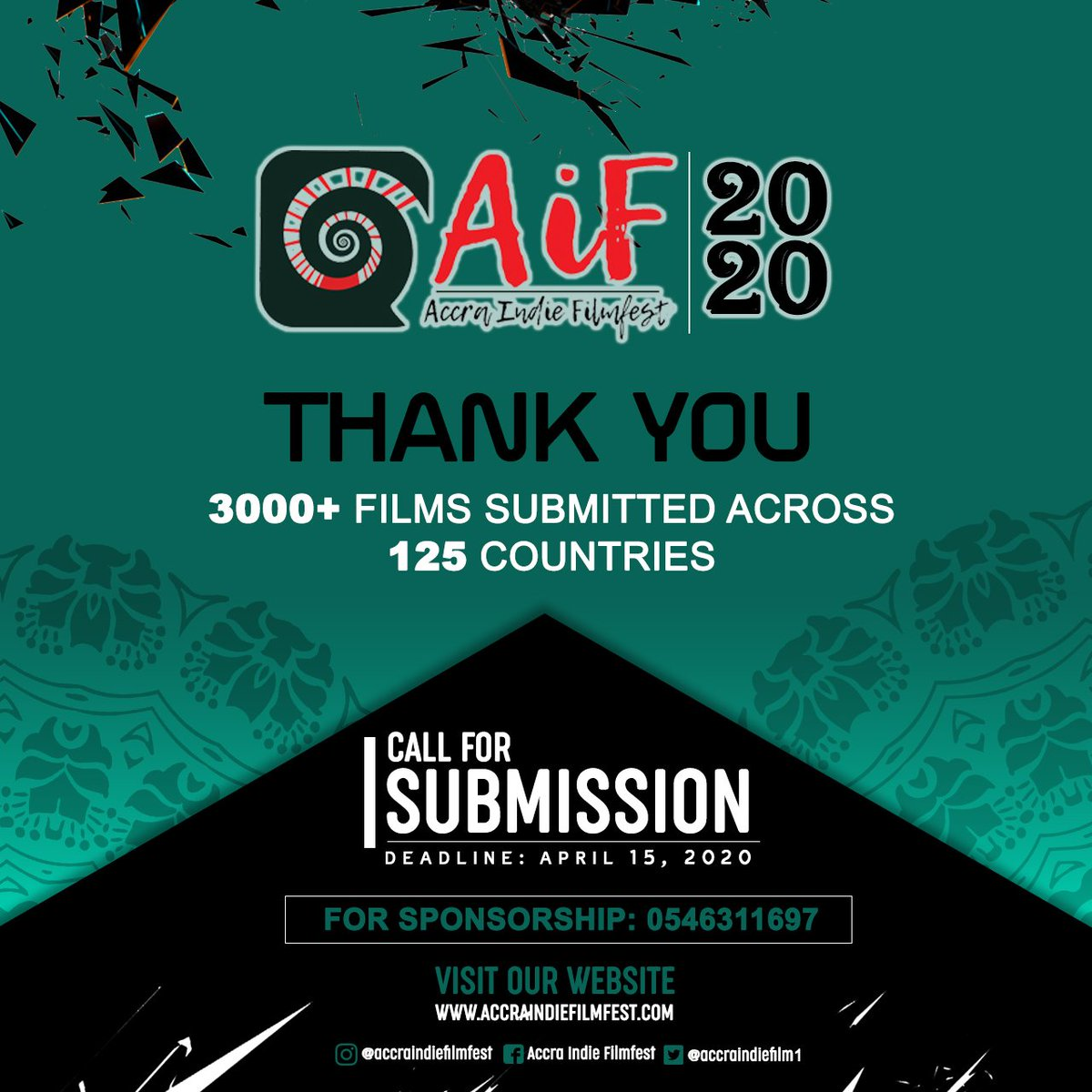 We want to warmly appreciate you for being part of our submission engagement. 3000+ across 125 countries in 30 days is a hot run. Let's keep them coming through and we will have a different short film experience at this year's edition of the festival. #AiF2020 #indie  #festivalpic.twitter.com/pZc3kDBCCU