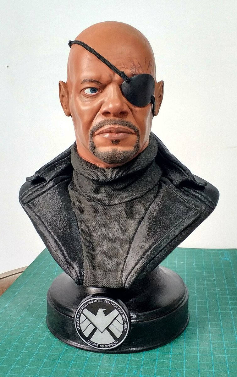 Fan art:  Nick Fury printed in #eSUN #ABS and painted.  For model printings, ABS has high strength and easy enough to be colored:   #nickfury #marvel #3dprinting