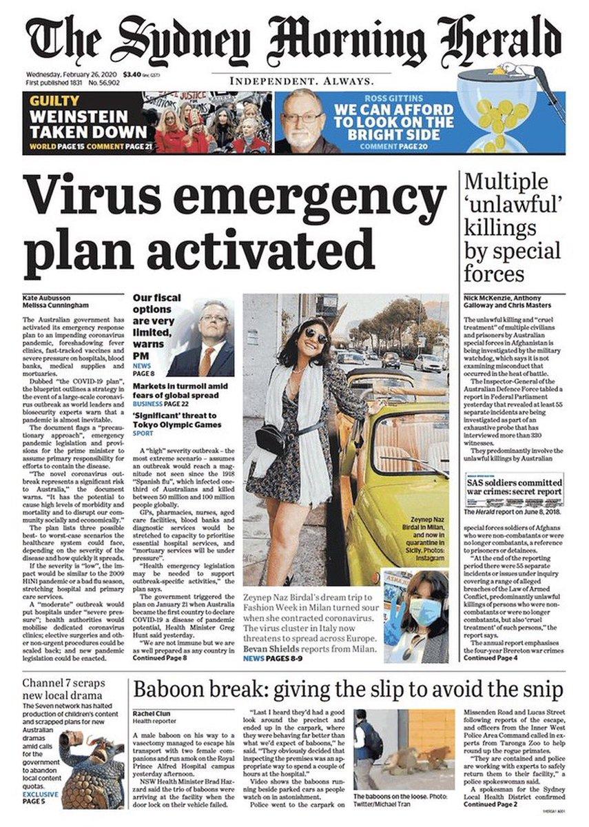 Coronavirus dominates page one overnight, from Sydney to London. (via @ukpapers) #COVID19
