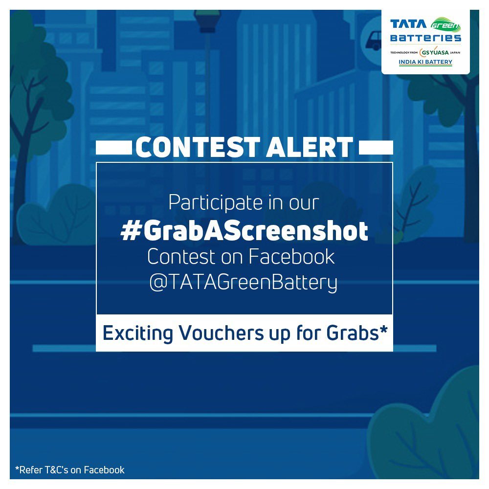 Don't forget to participate in our ongoing contest, #GrabAScreenshot, LIVE right now on our Facebook page, @ TATAGreenBattery. Exciting vouchers up for grabs!  #Contest #ContestAlert #IndiaKiBattery #TataGreenBatteries
