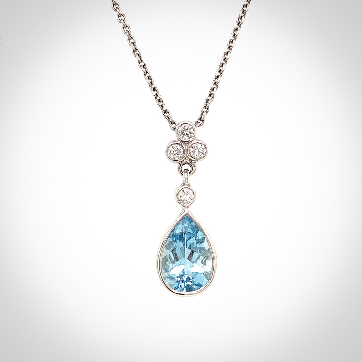 #Aquamarine #teardrop shaped #pendant, bezel set in #18ct #whitegold with #diamonds. #guildford #surrey #independentjeweller #shoplocal #finejewellery #jewellery #jeweller #diamond #diamondjewellery #roundbrilliant #jewels #diamondpendant #aqua #aquamarinejewellery #bluegreen