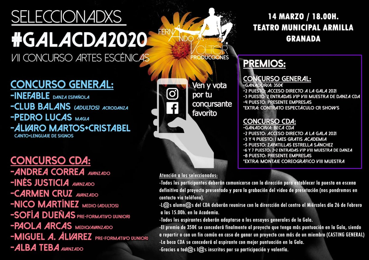 #Granada | El Teatro Municipal de .@AytoArmilla acogerá el sábado 14 de marzo la Gala CDA .@FernandoVoltorC 2020 y el VII Concurso #ArtesEscénicas . Compra tu entrada a partir del 2-Marzo en http://www.eventum365.com Presenta: .@carlos_salatti Máshttp://bit.ly/2Prx3gTpic.twitter.com/Cj8OZvJerL