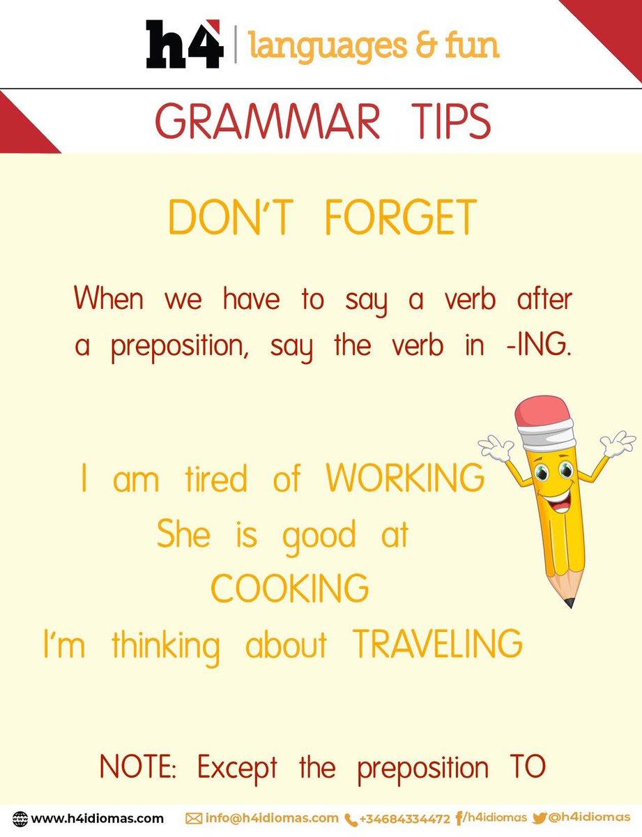 NEW TIP! ¡Anímate!  El inglés puede ser más fácil de lo que crees. Nosotros te ayudamos a mejorarlo. Infórmate en nuestra web. #h4idiomas #englishlearning #englishtips #englishgrammarpic.twitter.com/daZeenccDW