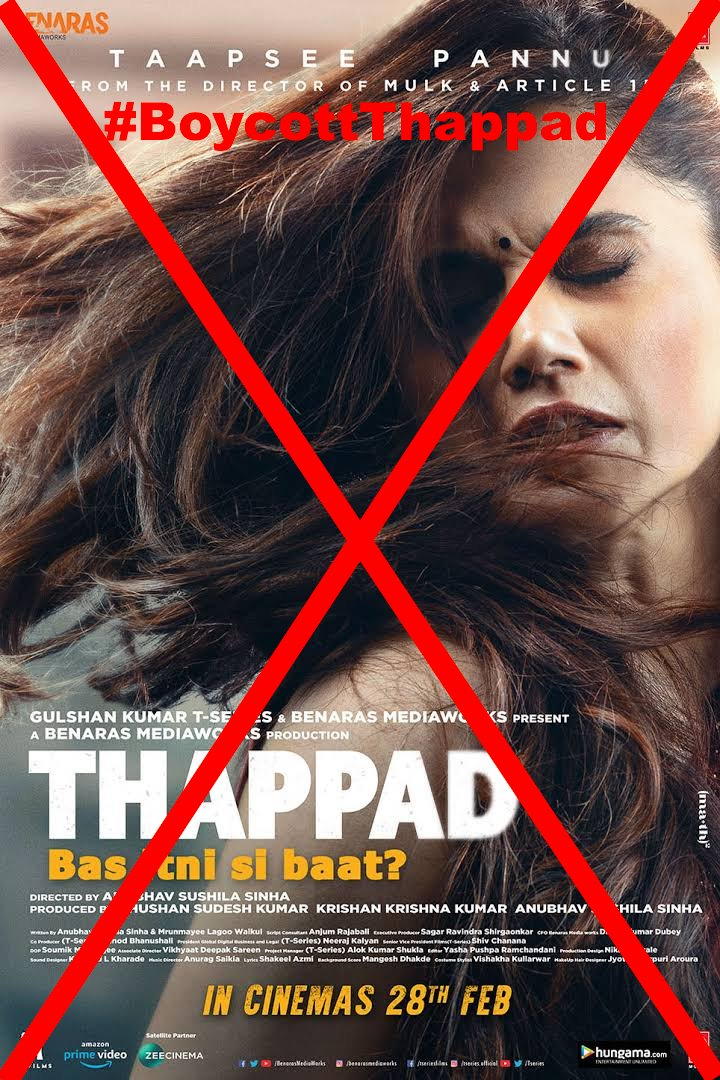 Mitroon how many of u r ready to give #OneTightSlap to Thappad?RT if u r going to #BoycottThappad & ensure 10++ of ur friends do it tooThappad ka Chhapaak hona zaroori hai-its directed by #TukdeTukdeGang AnubhavSinha & stars Taapsee both of whom hv been abusing Motabhai daily
