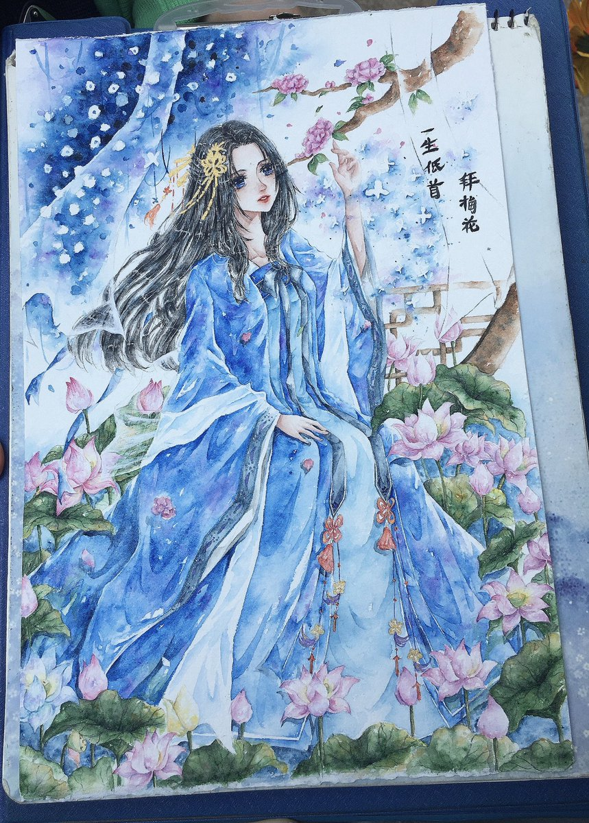 Love blue ♥️ I will very happy if you like my artwork, follow me to see more. Thank you 😆  #watercolor #animeart #flower #fanart #blue #holbein #holbeinwatercolor #traditionalart #art #watercolorpainting