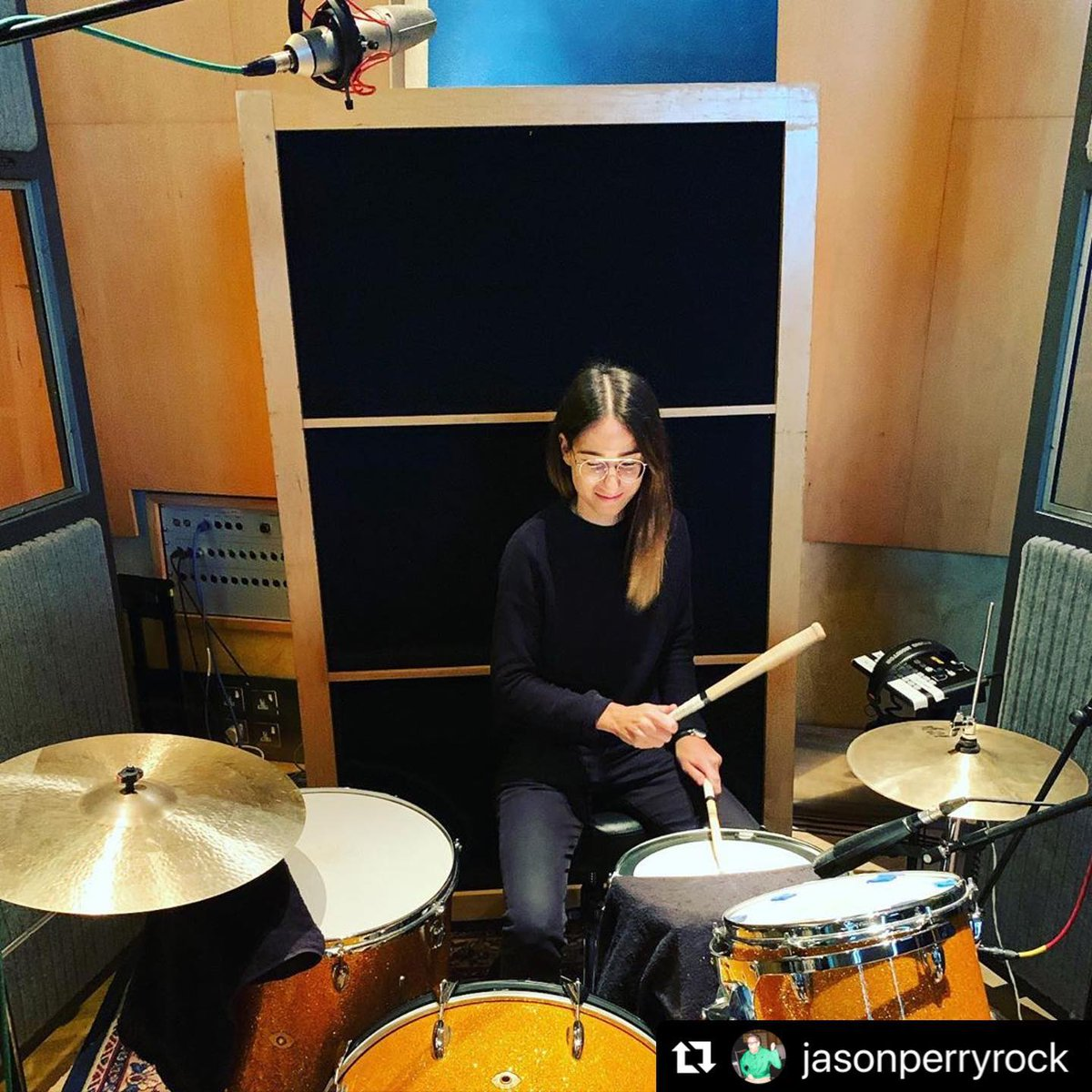 #Repost @JasonPerryrock  ・・・ 'We're gonna miss you @amandamerdzan and your engineering skills .. it's been a pleasure. and these drums you recorded sound amazing !Hurry back to us soon ! x' https://t.co/XD6rCYUYvi