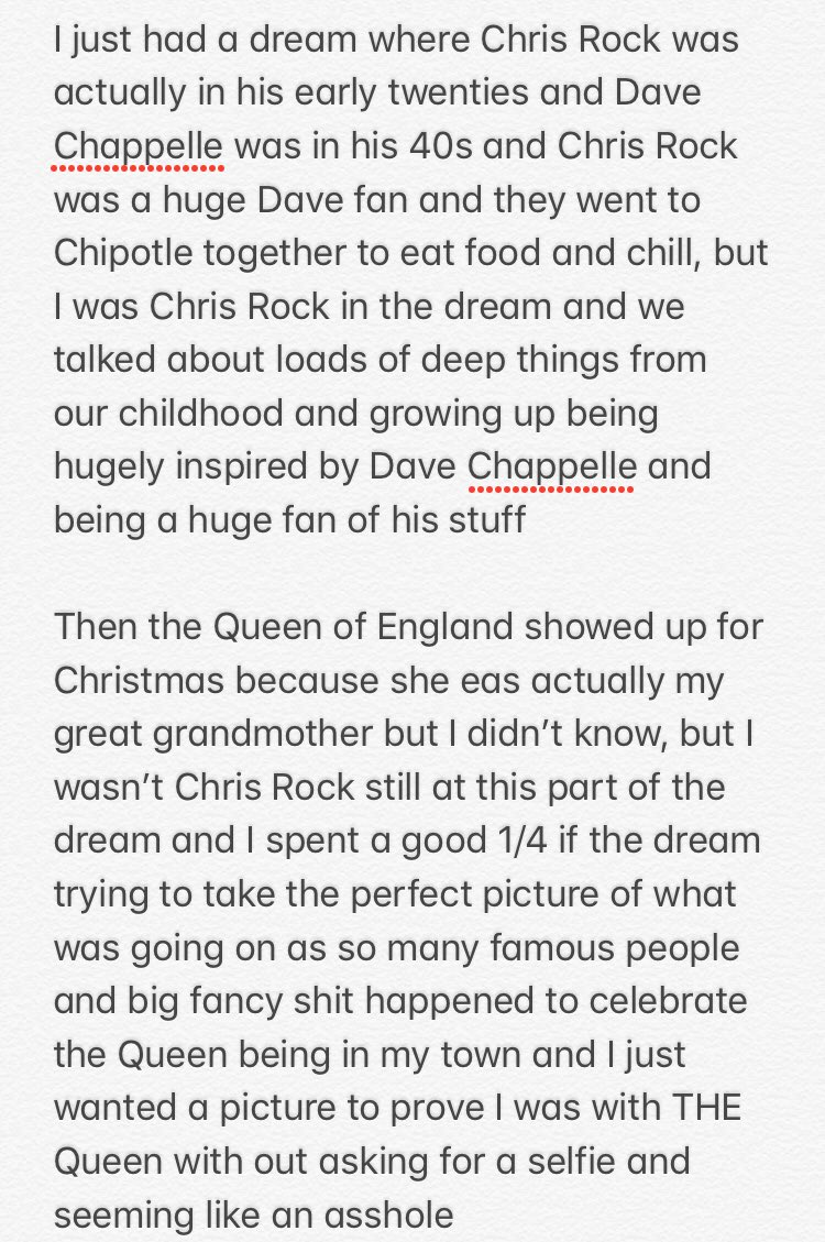 I'm very confused.   I literally know so little about Dave Chapelle and have only seen a few clips of his stand up. I also don't know much about @chrisrock outside of being Donkey in Shrek?? I've also never been to @ChipotleTweets and don't even know what food they dopic.twitter.com/8e3QGlB5zp