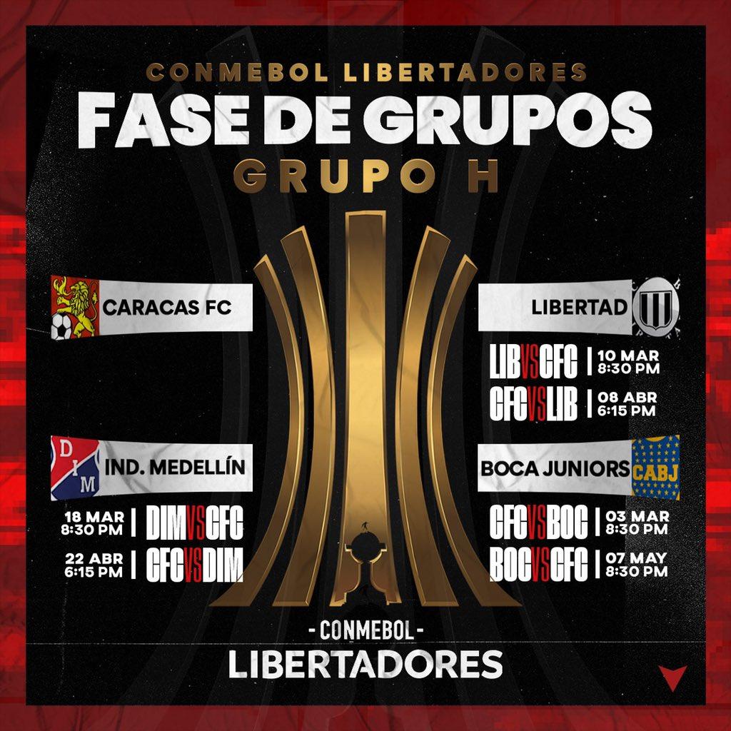 #ConmebolLibertadores2020    ¡GRUPO H LISTO     El #CaracasFC ya conoce a sus tres rivales con los cuales luchará un cupo para avanzar  a la segunda ronda del #torneointernacional, el 03 de marzo será el estreno de los rojos ante #BocaJuniors     #Futve #Venezuela #LigaFUTVEpic.twitter.com/jkj1gt1sFx