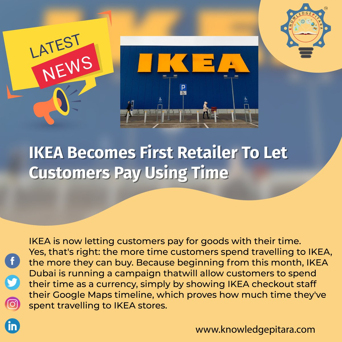 Latest News👇 IKEA becomes first retailer to let customers pay using time.  #latesttrends #latestnews #indianews #newsfeed #newspaper #branding #newsblogger #newstart #newsday #dailyupdates #dailynews #dailyupdate #ikea #trending #discover #knowledgeispower #WednesdayWisdom