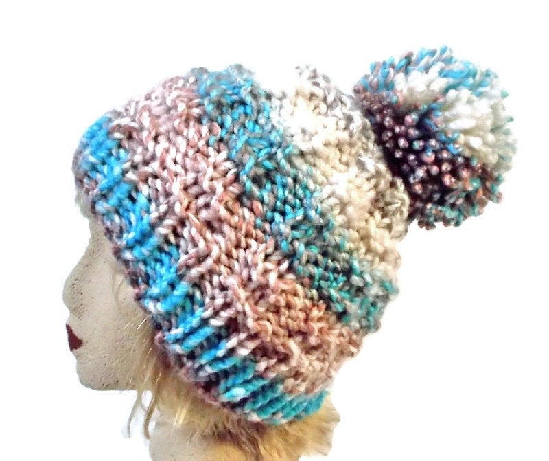 Excited to share the latest addition to my #etsy shop: Womens Hand Knit Chunky Beanie  #accessories #hat #beige #blue #hatsandcaps #womensbeanie #wintertoque #giftforher #pompomhat