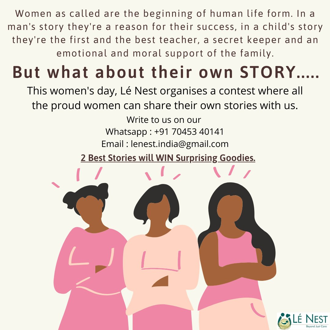 Lé Nest would love to know what's special about your story this women's day. Drop your stories on our Email : lenest.india@gmail.com Whatsapp : +91 70453 40141 Last day for sending entry is 5th March Stand a chance to win Amazing Goodies #lenest #womensspecial #ContestAlert